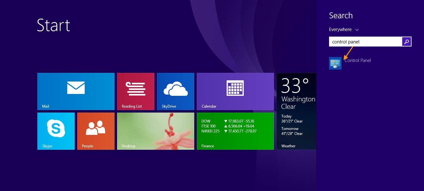 windows 8 how to get to control panel